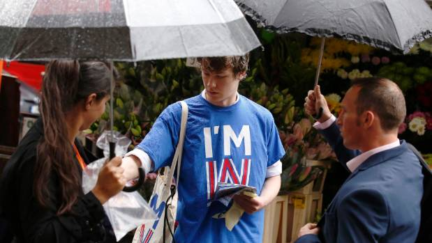 "Student George Smith, a supporter of ""Britain Stronger IN Europe"", campaigns in the lead up to the EU referendum."