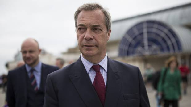 UKIP leader Nigel Farage, an 'Out' proponent, arrives in Ramsgate to speak to members of the public about the ...
