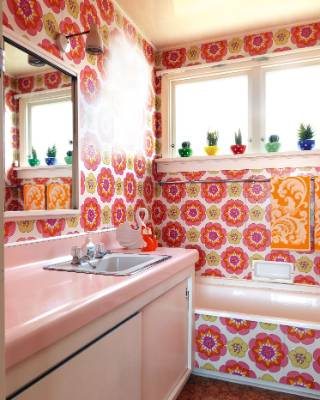 Tannia says the bathroom is a joy because of its bold colours; the swan and fox are from the Pop-in Pop-up market, and ...