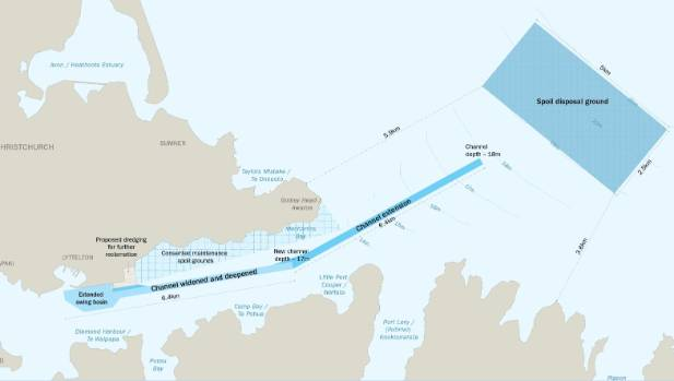 The dredging plan proposed by the Lyttelton Port Company.