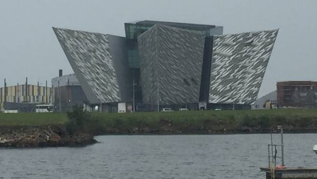 The Titanic Belfast visitor centre stands out on the banks of Belfast Lough.