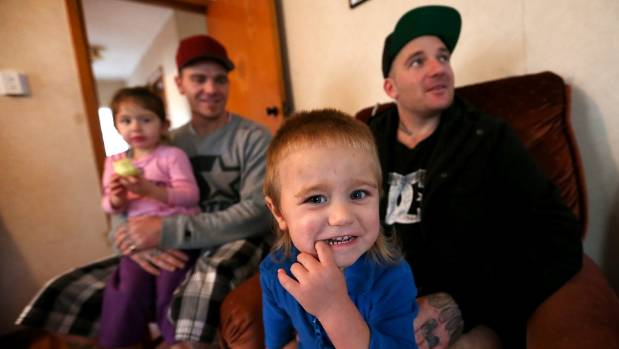 Craig Ryan, left, with children Mia-Rose, 3, and Duke-Lincoln, 1, and brother Aaron.
