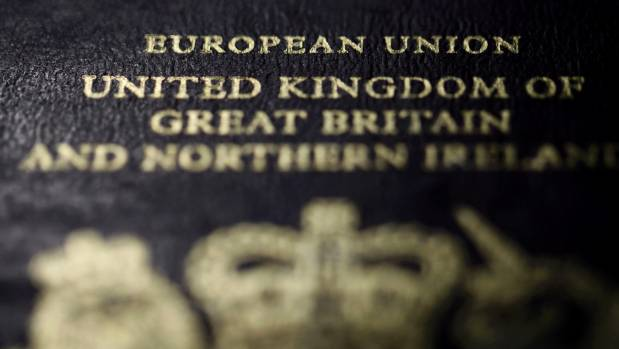 Detail from the cover of a European Union British passport.