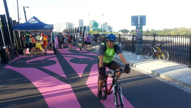 Auckland's pink Lightpath is used by around 900 cyclists a day.
