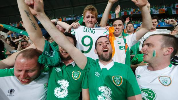 Irish fans in Stade Pierre-Mauroy, Lille, France for a match against Italy at Euro 2016.