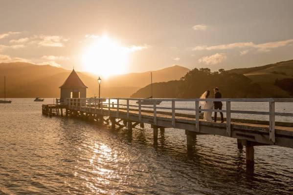 A beautiful view at the Akaroa Pier.