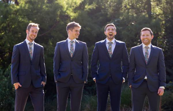Groomsmen Tom, from left, and Jeremy, groom Adam and groomsman Jono.