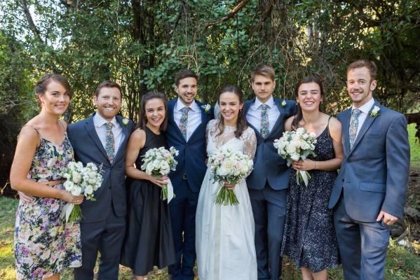 The beaming bridal party.