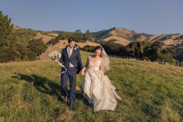 The wedding was held at Ruth's granddad's farm in Banks Peninsula.
