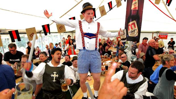 Joebin Huggins from New Plymouth takes centre table at Mike's Organic Brewery's popular Oktoberfest.