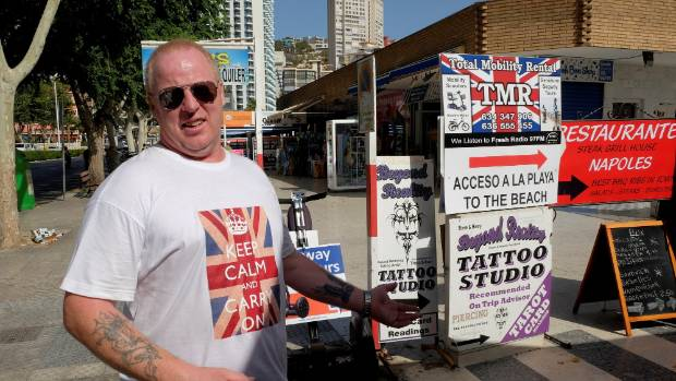 "British holiday-maker Andy McPhee, who voted ""Out"", in Benidorm, Spain."