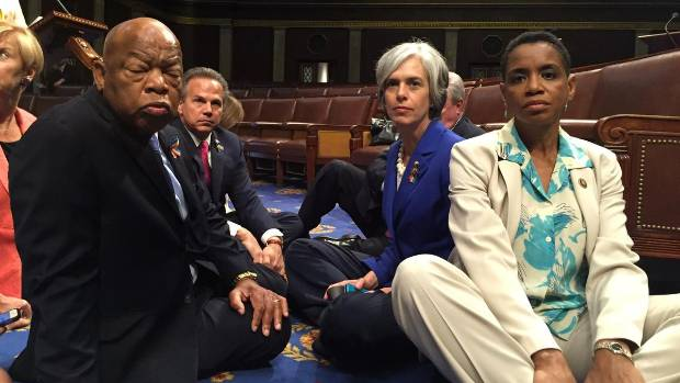 Civil rights veteran John Lewis joins the Democrat sit-in at the House of Representatives.