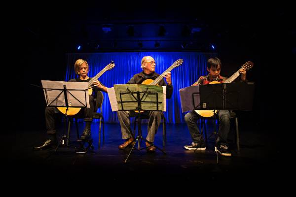 Classical Guitar Society's mid year concert at the Wall Theatre in New Plymouth,  From left, Aengus Gordon, Ross ...