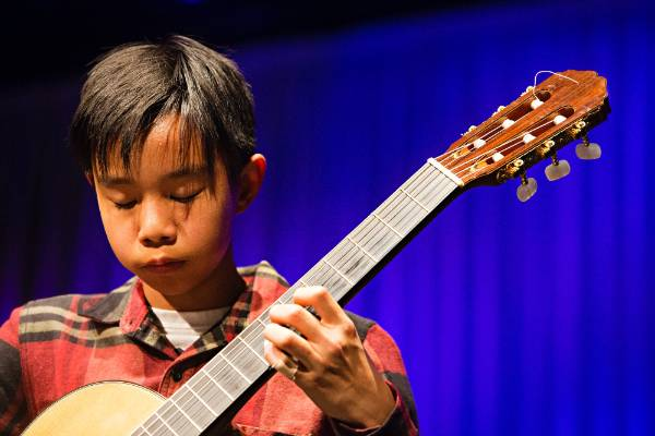 Classical Guitar Society's mid year concert at the Wall Theatre in New Plymouth. Reuben Chan shows how it's done.
