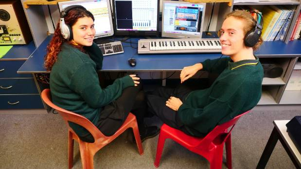 Spotswood College students Sam Raumati and Jacques McCallum-Lind, both 16, tune their talents on the 104.4 FM show, ...