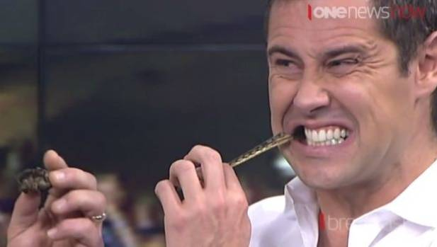 TVNZ Breakfast's Sam Wallace chows down on a dried millipede.