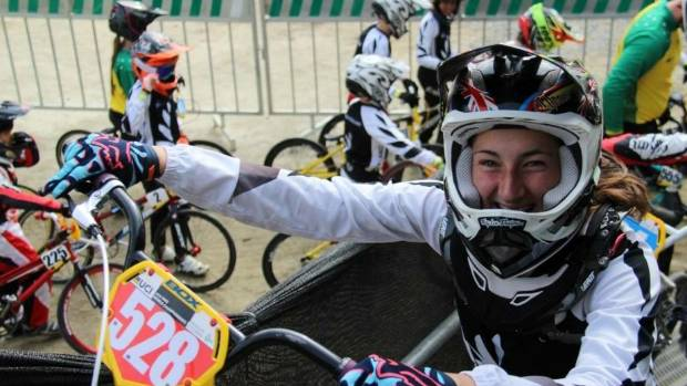 Caitlin Georgantas has a moment for the camera on a trainng day ahead of the 2016 BMX World Championships.