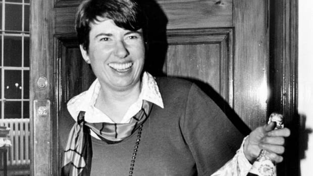Fran Wilde celebrates the passing of the gay rights bill on July 9 1986.