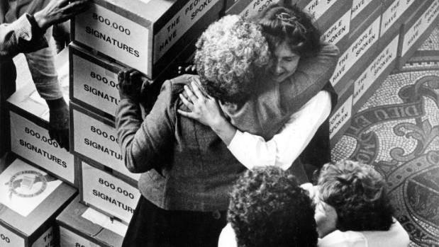 Boxes said to hold 800,000 signatures on the petition against gay law reform arrive at Parliament, September 1985.