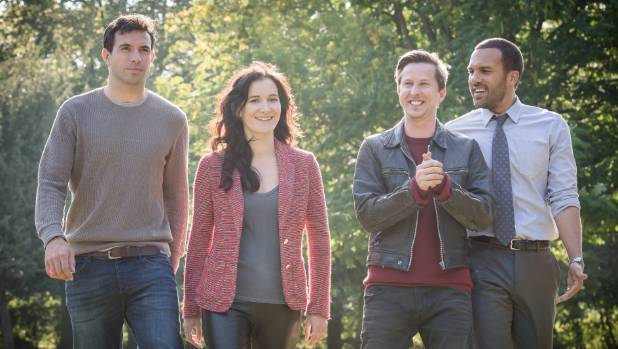 Mark (Tom Cullen), Pru (Sarah Solemani), Slade (Lee Ingleby), and Danny (OT Fagbenle) in The Five.