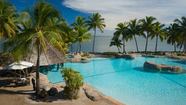 The lagoon-themed swimming pool at Doubletree by Hilton Fiji.