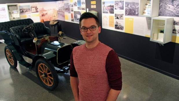 "Aotea Utanganui- Museum of South Taranaki district archivist Cameron Curd at the ""Across the Centreline"" exhibition."