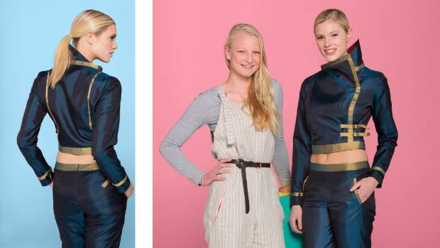 """Clare Weterings stands with model Suzie Q, who wears Wetering's """"Built"""" pant and jacket fashion creation. The creation ..."""