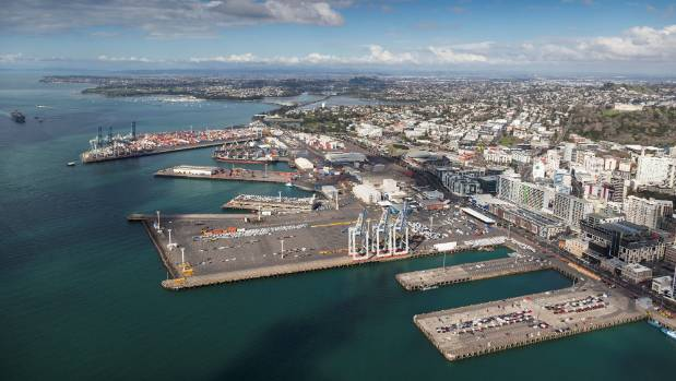 Ports of Auckland dominates Auckland CBD's waterfront.