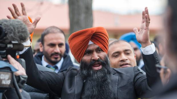 Taxi driver Jaspinder Singh, who organised the strike, pictured at an earlier Uber-related protest in 2016.