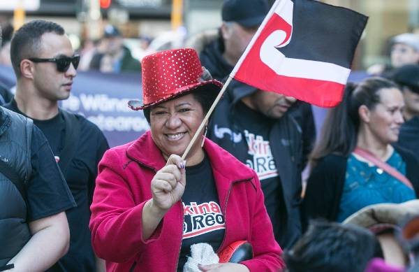 Maori Party senior political adviser Ivy Harper flies the flag.