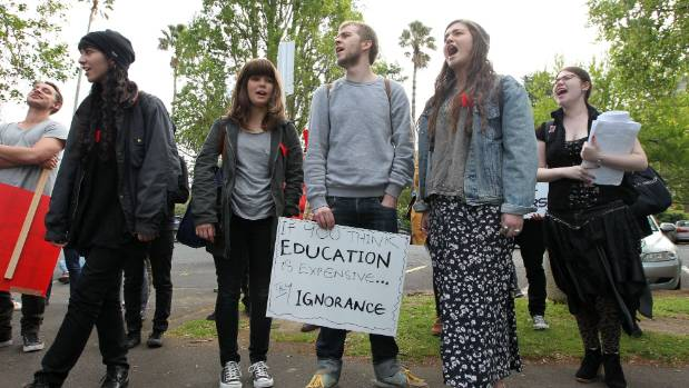 Auckland university students protest fee increases in 2012. Is a war between generations coming?