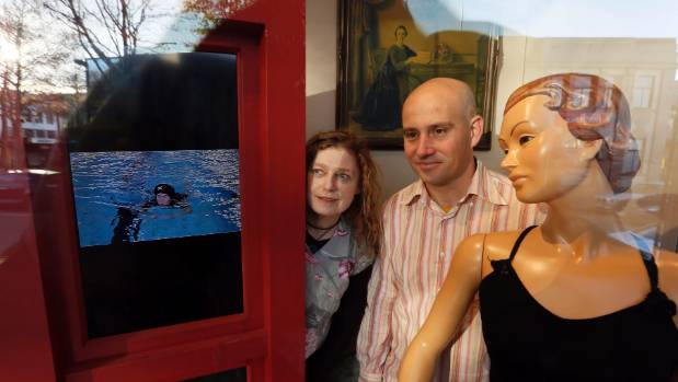 Vicki Smith and Rob Carter with their installation, Finding Lucinda Fairweather in the windows of the Nelson Provincial ...