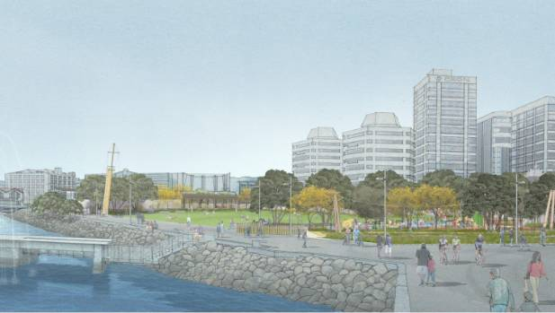 The wall that separates Frank Kitts Park from the harbourside walkway does not feature in the new designs.