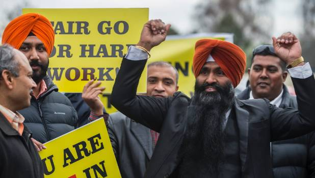 Christchurch taxi drivers protest over Uber taking work off regular taxi drivers. Protest organiser Jaspinder Singh ...