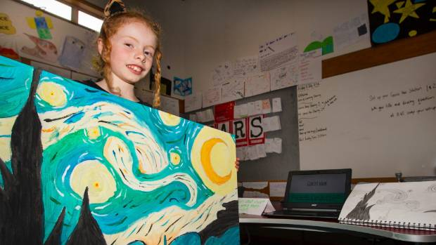 Emma Hoffman with her famous artist project, a painting by Vincent van Gogh, at Genius Hour at Hampden Street School, Nelson.