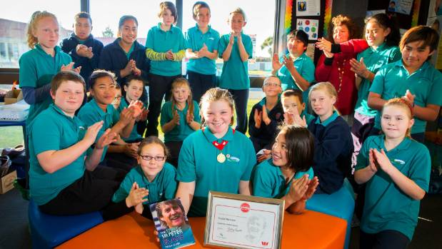 Celebrating her leadership award with her classmates at Oceanview Heights School is Crystal Mehrtens, centre, with her ...