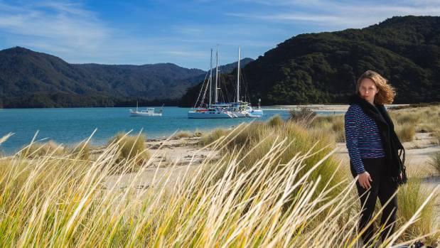 Adele Redmond on Awaroa Beach, Abel Tasman National Park.