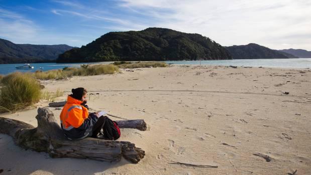 Awaroa Beach, Abel Tasman National Park on a cold winter day.