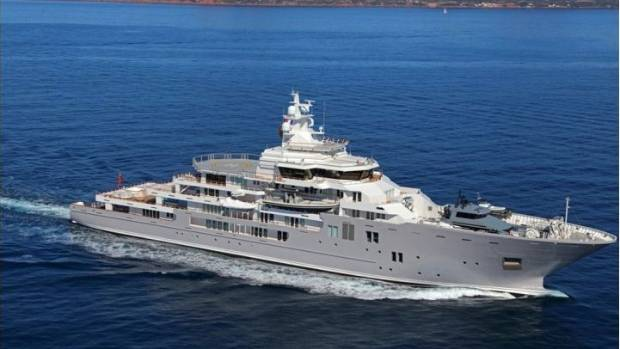The image from the brochure advertising Graeme Hart's 107 metre superyacht, Ulysses.