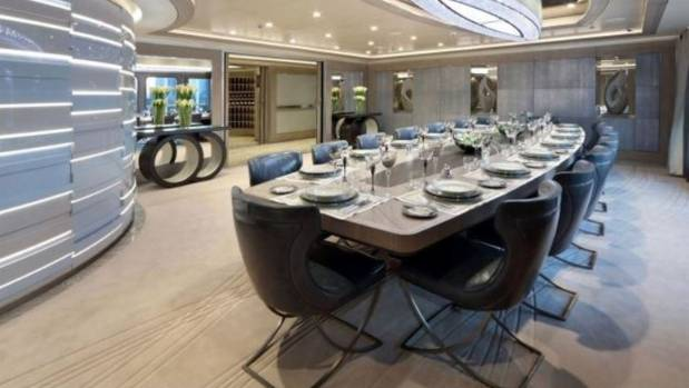The Grand Dining Table Inside Ulysses FRASER YACHTS