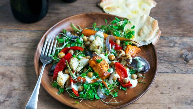 Winter vegetable salad with feta, coriander, and yoghurt dressing, and garlic flatbread.