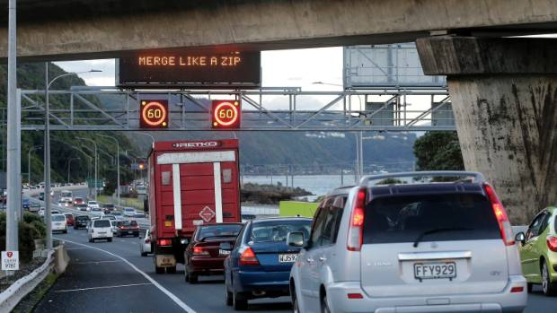 One of the major congestion points - Ngauranga Gorge where SH2 splits off to the Hutt and further north.
