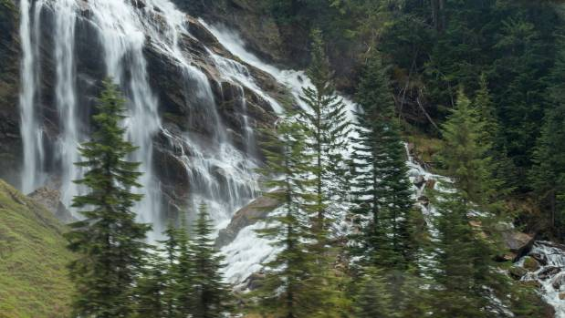Pyramid Falls in Provincial Park is just one of the many waterfalls along the way