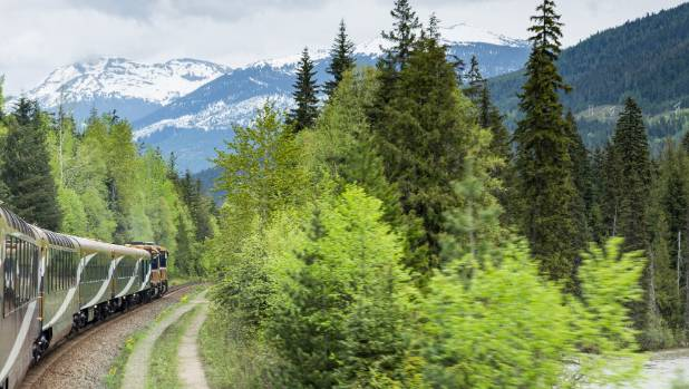 The Rocky Mountaineer wiggles its way slowly through British Columbia and Alberta.