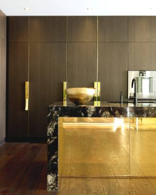 No stainless steel is allowed in the house, hence all the brass including the bench cladding designed by Trinity ...