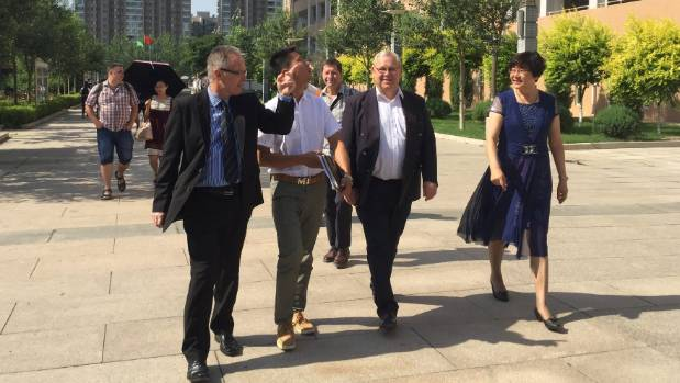 Marlborough Boys' College principal Wayne Hegarty, left, with Marlborough Mayor Alistair Sowman and the principal of ...