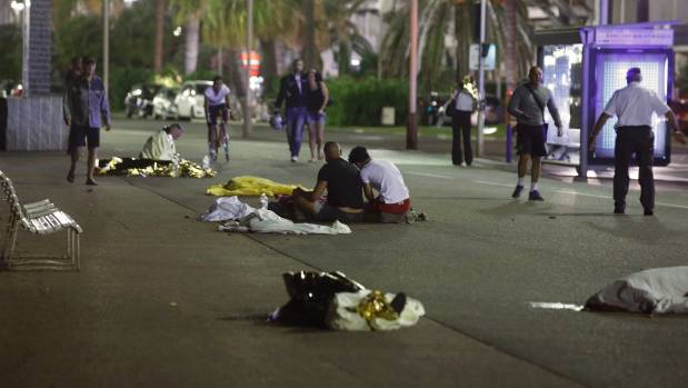 Bodies lying on the pavement in Nice, France after a truck ran into a crowd celebrating the Bastille Day national ...