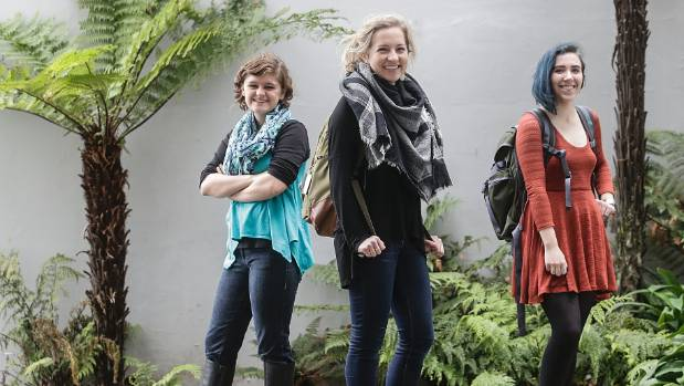 United States exchange students Amanda White, Erin Mellor and Shannon Culhane are getting used to life in Wellington.