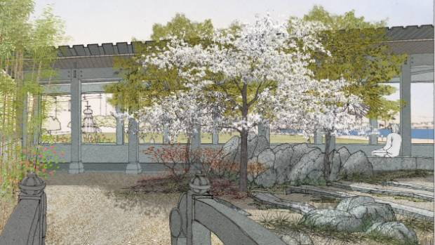 A drawing of the proposed new Chinese Garden for Frank Kitts Park.