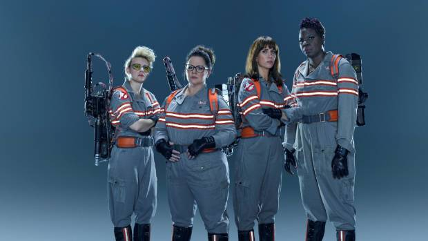 (L to R): Kate McKinnon, Melissa McCarthy, Kristen Wiig and Leslie Jones for Ghostbusters.